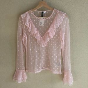 H&M pink polka dot sheer ruffle blouse